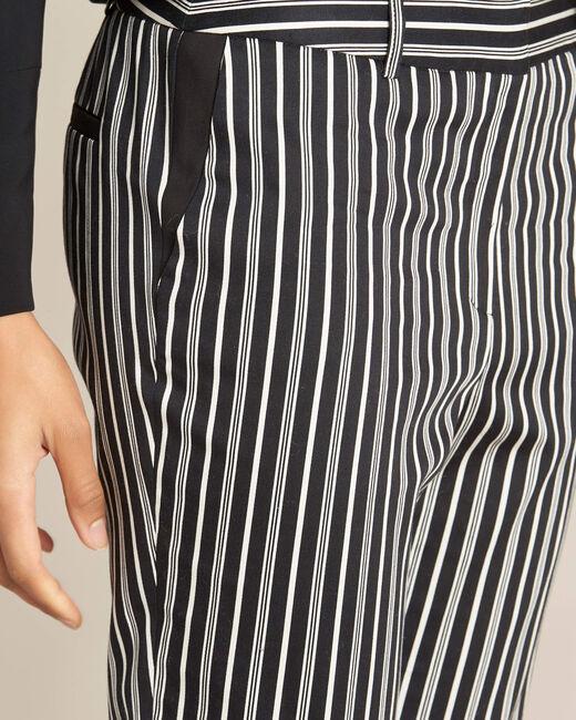 Pantalon cigarette en coton rayé noir Francis (2) - 1-2-3