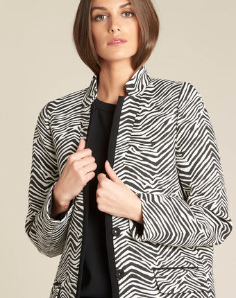 Klarisse animal print coat black/white.