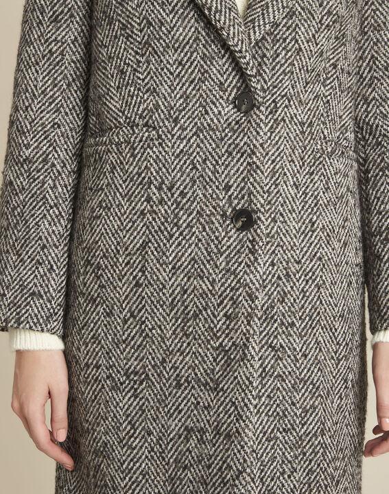 Manteau gris pâle chiné laine mélangée Erwan (3) - 1-2-3
