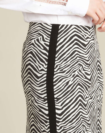 Lisa zebra printed straight-cut skirt with lateral band black/white.