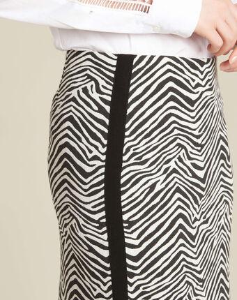 Jupe droite imprimé zèbre et bande latérale lisa noir/blanc.