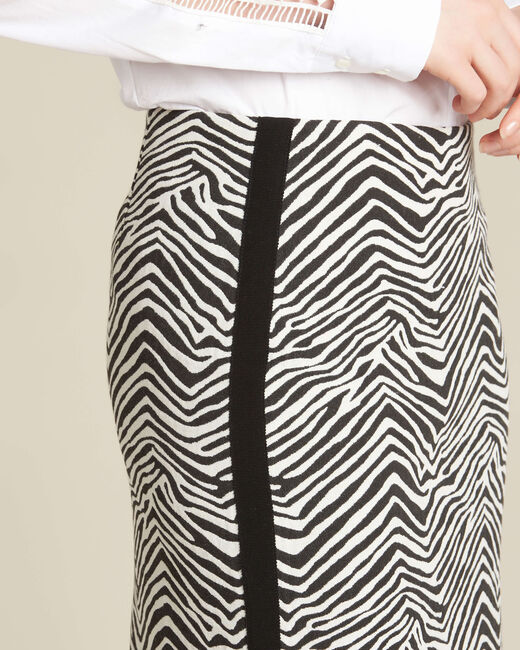 Lisa zebra printed straight-cut skirt with lateral band (1) - 1-2-3