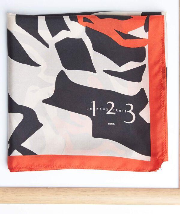 Carré de soie imprimé fleur graphique orange Angel PhotoZ | 1-2-3