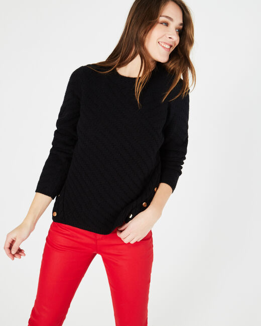 Paco black sweater with rounded neckline and golden buttons (1) - 1-2-3