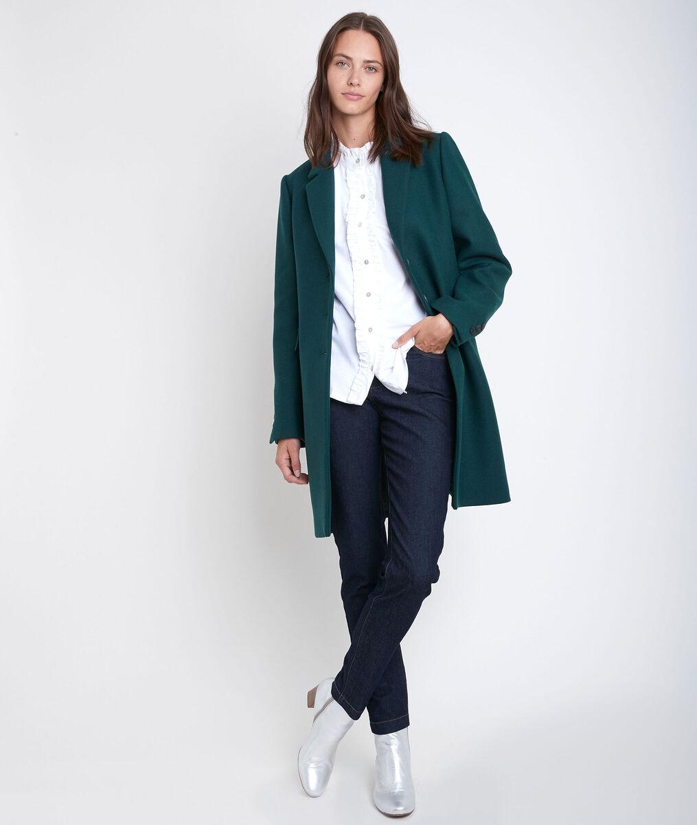 Manteau en laine droit émeraude Plume PhotoZ | 1-2-3