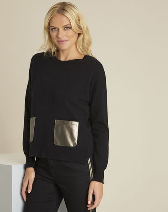 Pull noir laine cachemire poche faux cuir baltic noir.