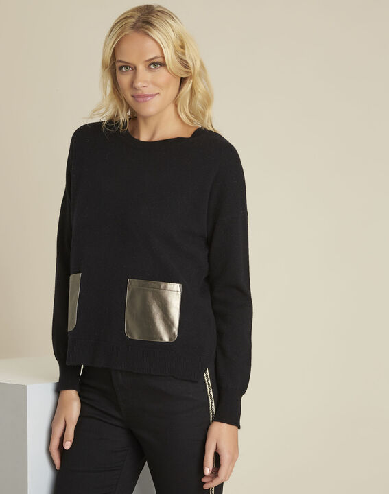 Baltic black wool cashmere pullover with faux leather pocket (1) - Maison 123