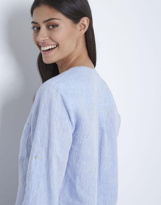 Hemelsblauwe linnen blouse Roma (4) - Maison 123