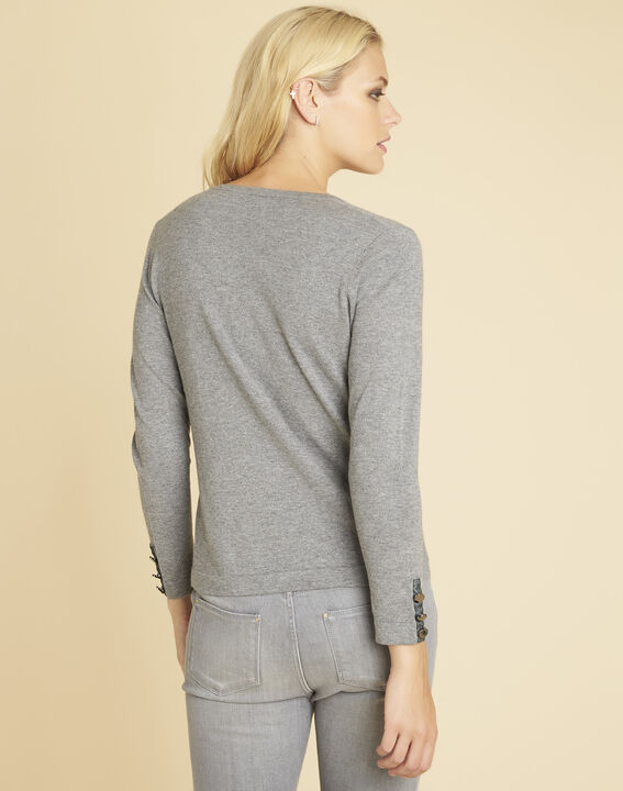 Beth grey cashmere mix sweater with V-neckline (4) - 1-2-3