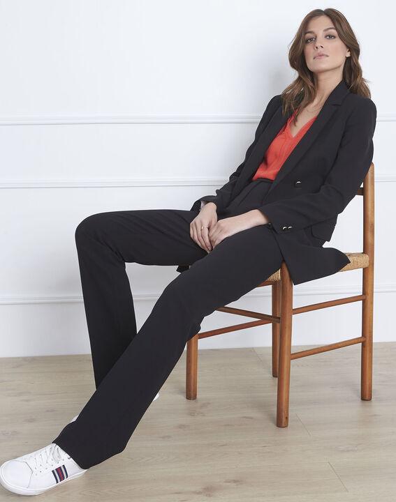 Pantalon noir droit en microfibre à ceinture boutonnée Hugo (2) - Maison 123