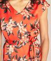Robe rouge droite effet satin imprimée Paradis PhotoZ | 1-2-3