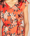 Paradis straight-cut red satin-effect printed dress PhotoZ | 1-2-3