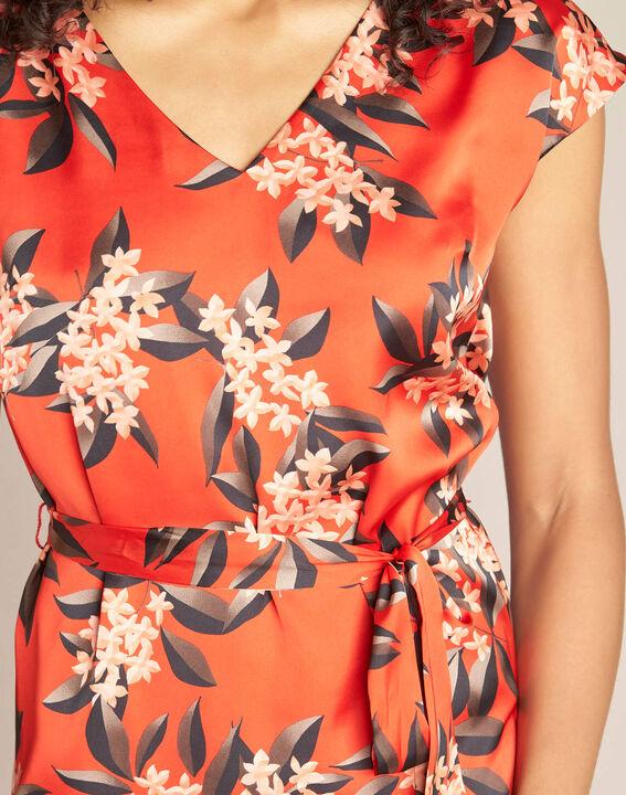 Rotes gerades Print-Kleid mit Satin-Effekt Paradis PhotoZ | 1-2-3