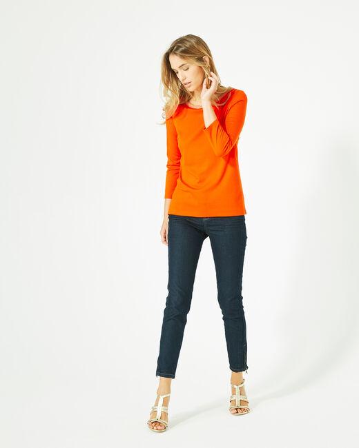 Tee-shirt orange manches 3/4 col rond Billy (1) - 1-2-3