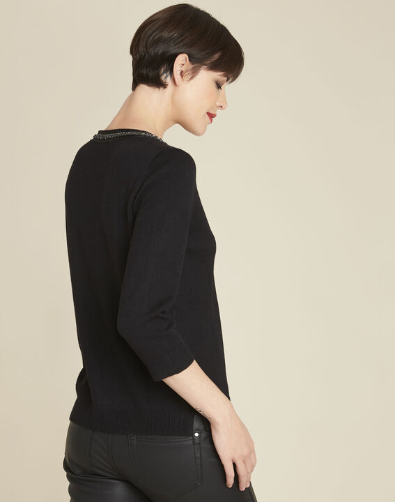 Beverly black wool mix pullover with decorative neckline (4) - Maison 123
