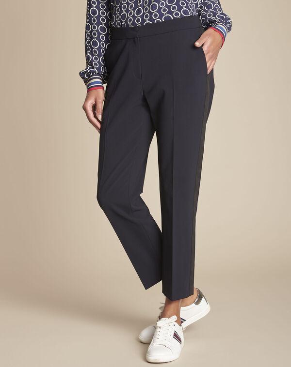 Pantalon de tailleur marine et sa bande latérale Suzanne (1) - 1-2-3