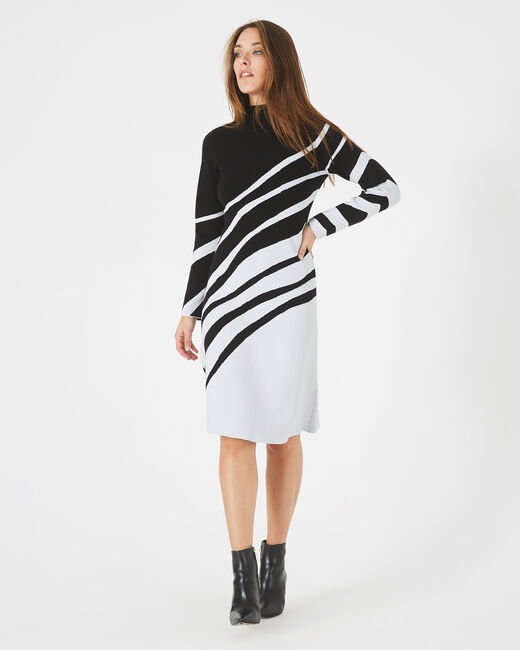 Astre black and white graphic knit dress (1) - 1-2-3