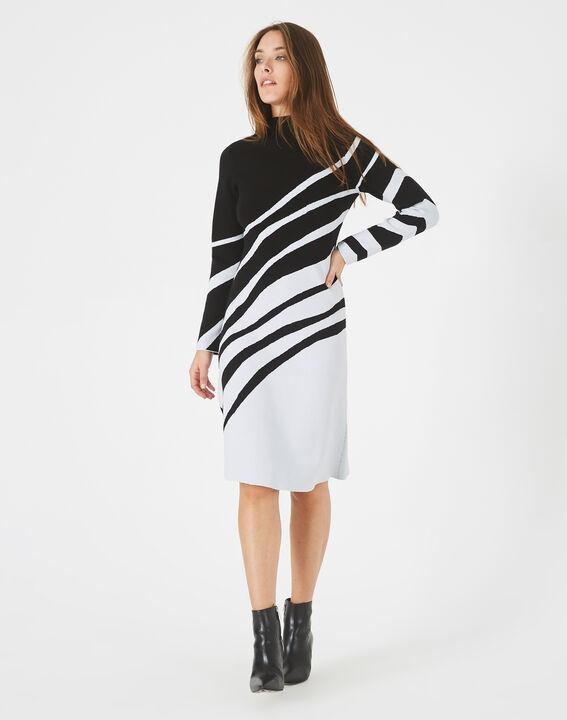 Robe noir et blanc graphique tricot Astre (2) - 1-2-3