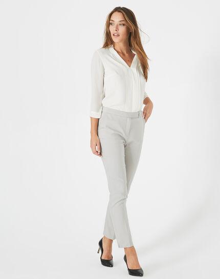 Graue Business-Hose mit Gürtel und Schlaufe Pauline (2) - 1-2-3