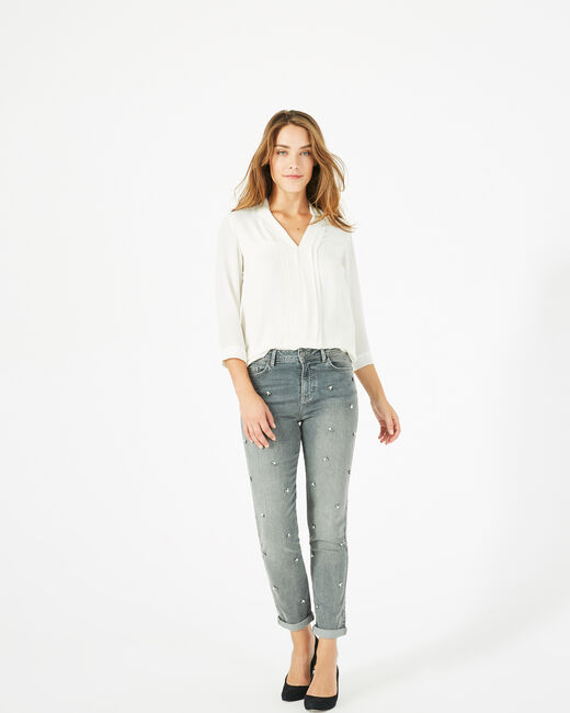 Nael ⅞-length, grey jeans embroidered with beads (1) - 1-2-3