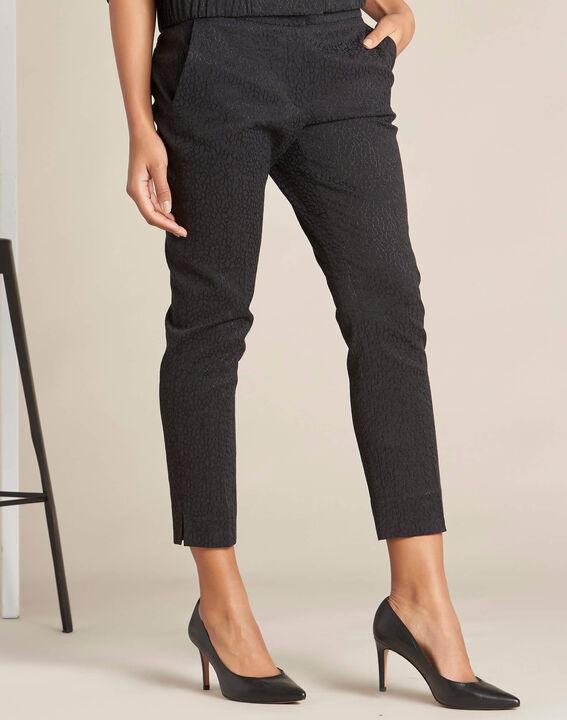 Pantalon cigarette jacquard noir Suzanne (3) - 1-2-3