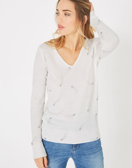 Pénélope off-white V-neck sweater with star print (2) - 1-2-3