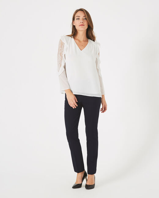 Demetra white blouse with frilly sleeves (1) - 1-2-3