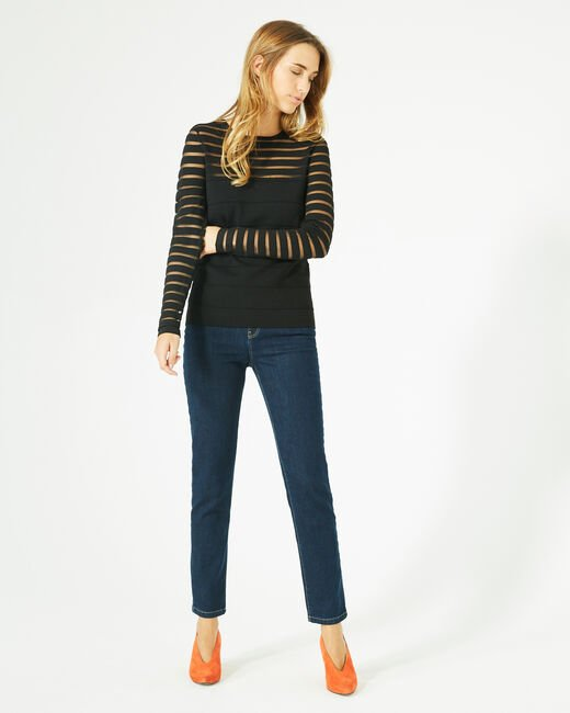Peggy black sweater with transparent stripes (1) - 1-2-3