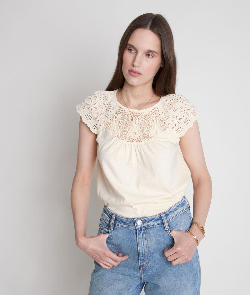 Tee-shirt en coton et dentelle paille Ecume PhotoZ | 1-2-3