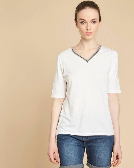 Tee-shirt écru encolure fantaisie Eshine (2) - 1-2-3