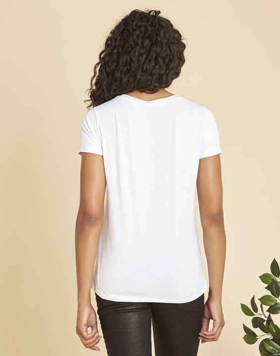 Expect white T-shirt with gilt silkscreen print (4) - Maison 123