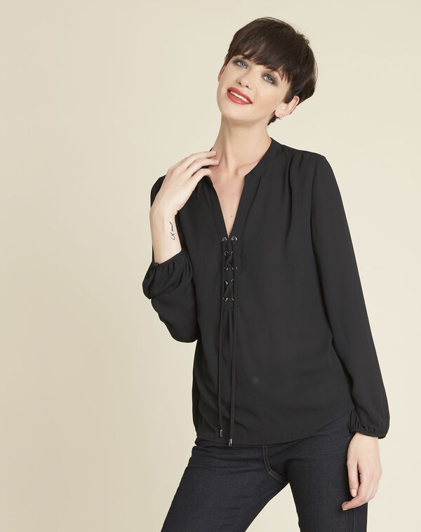 Cheryl black blouse with laced neckline (1) - 1-2-3