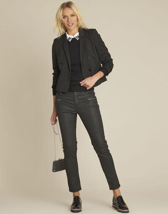 Zwarte 7/8 jeans van 2 soorten materiaal Vendome (2) - 37653