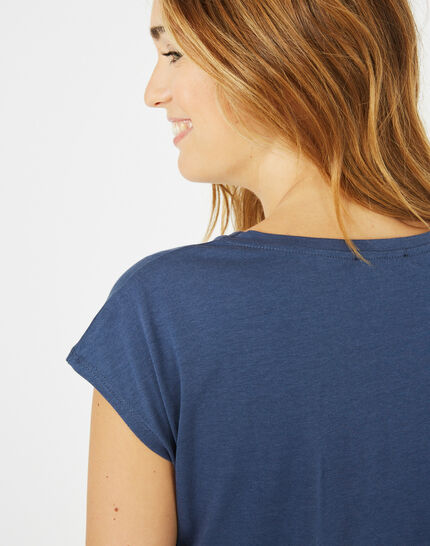 Tee-shirt bleu roi imprimé Bambou (3) - 1-2-3