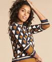 Camel blouse met grafische print Evita PhotoZ | 1-2-3