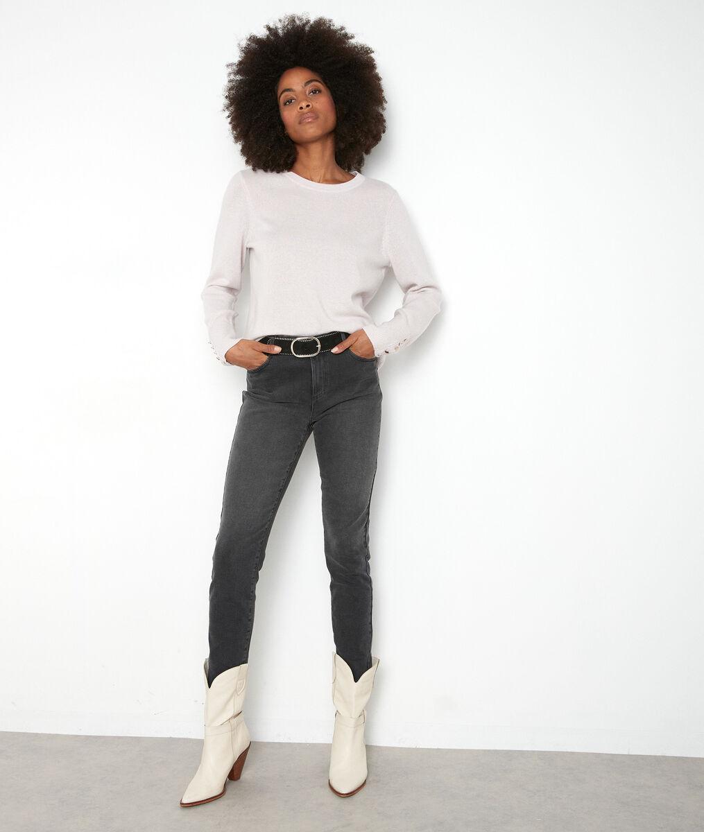 Jean slim en coton gris foncé et broderies Nadia PhotoZ | 1-2-3