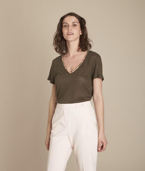 Tee-shirt kaki en lin Capri PhotoZ | 1-2-3