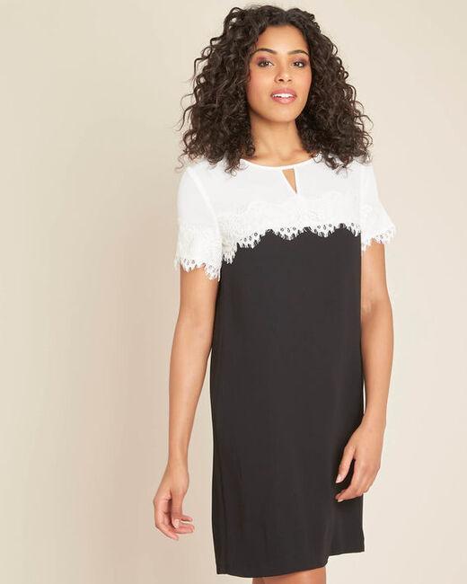 Robe noir & blanc encolure dentelle Illona (1) - 1-2-3