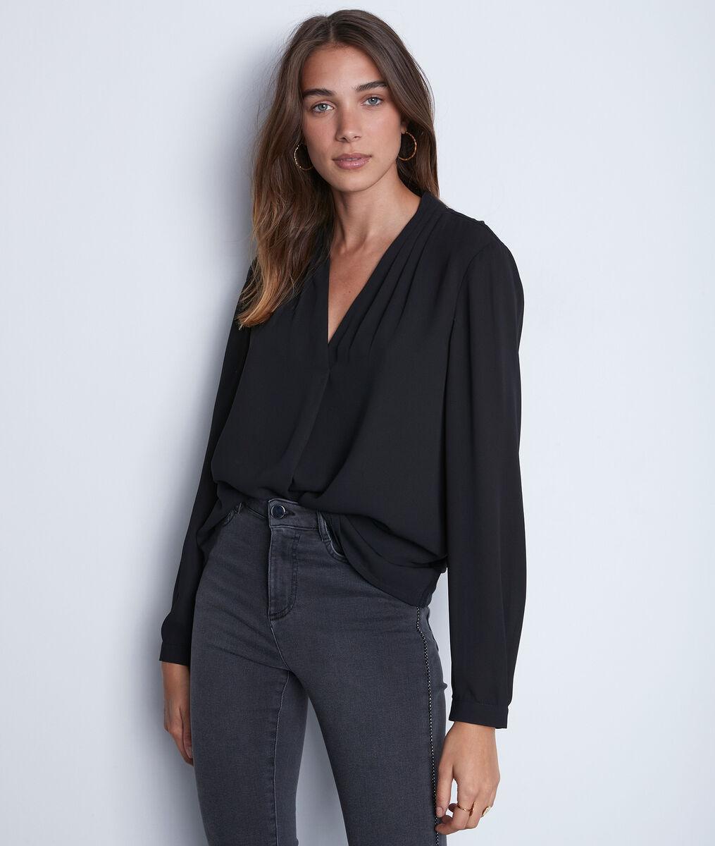 Zwarte soepele blouse uit twee materialen Davina PhotoZ | 1-2-3