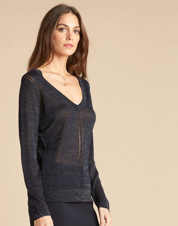 Marineblauer glänzender Pullover mit Ajour-Streifen Noisetier (3) - 1-2-3