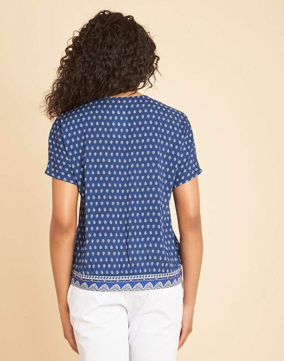 Galix blue printed top with crossover neckline (4) - 1-2-3