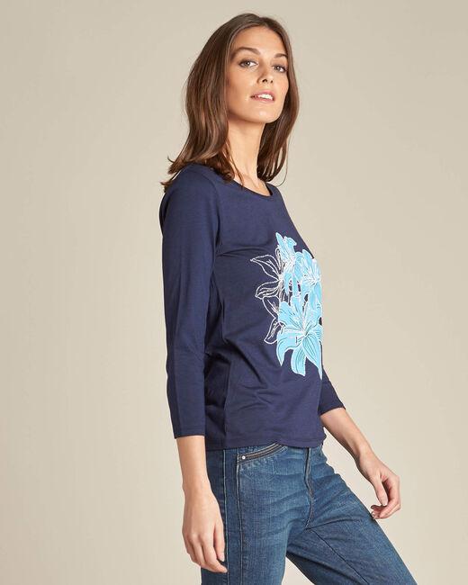 Marineblaues T-Shirt mit Blumen-Print Enoopsy (2) - 1-2-3