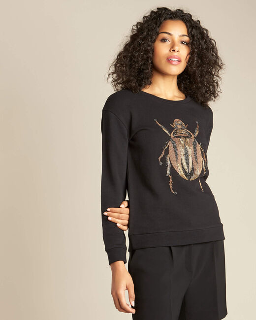 Barney black cotton T-Shirt with scarab embroidery (2) - 1-2-3