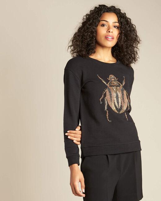 Schwarzes Sweatshirt mit aufwändiger Käferstickerei Barney (2) - 1-2-3