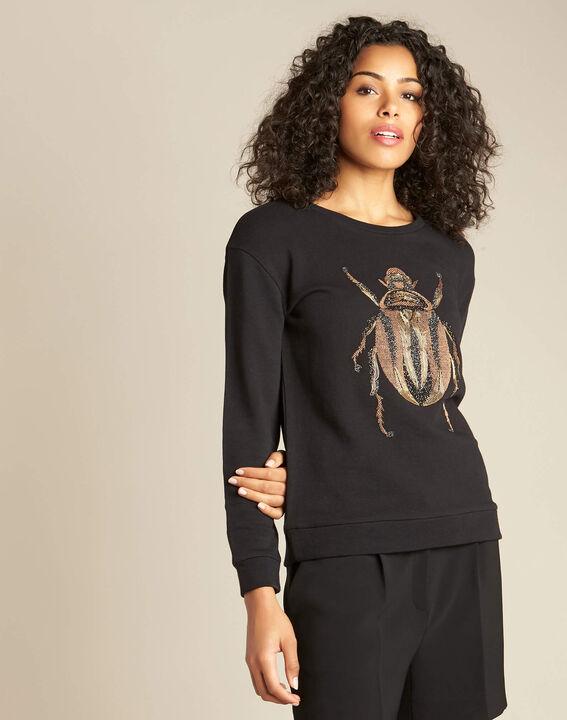 Sweatshirt noir fin à broderie scarabé Barney (3) - 1-2-3