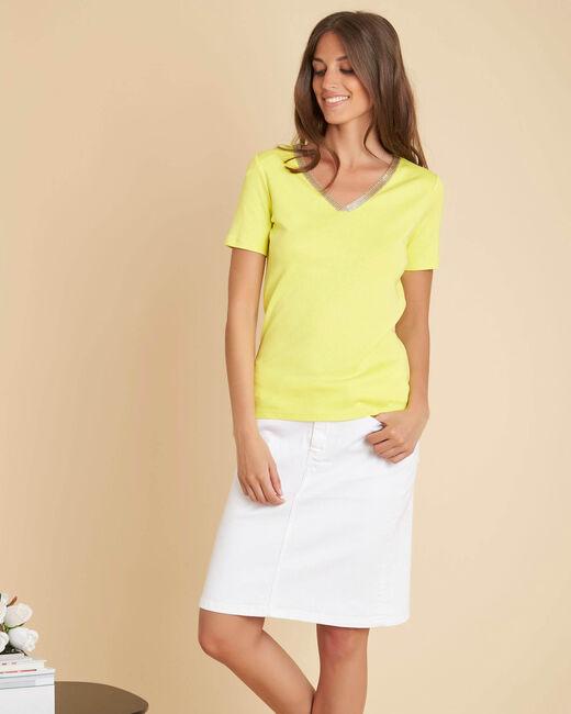 Tee-shirt jaune encolure fantaisie Etincelant (2) - 1-2-3