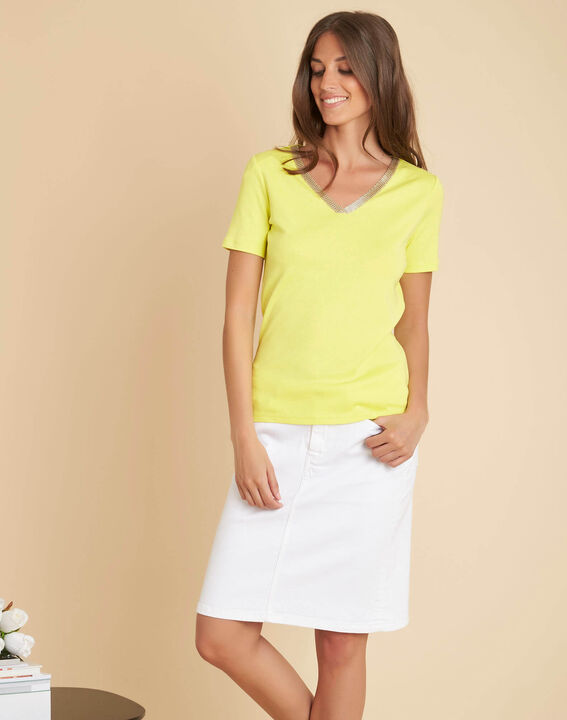 Tee-shirt jaune encolure fantaisie Etincelant (3) - 1-2-3