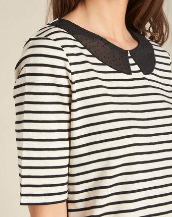 Ecrufarbenes streifen-t-shirt mit bubikragen edgar schwarz.