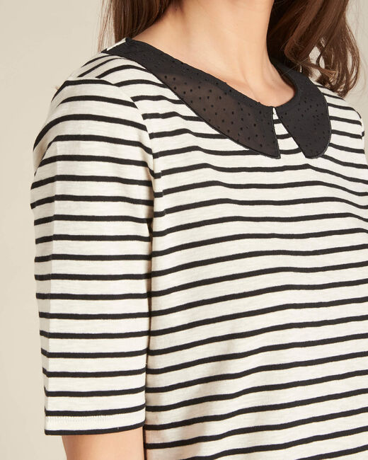 Edgar striped ecru T-shirt with Peter Pan collar (2) - 1-2-3