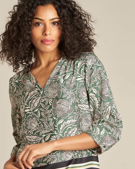 Groene blouse met natuurlijke print Gail (2) - 37653